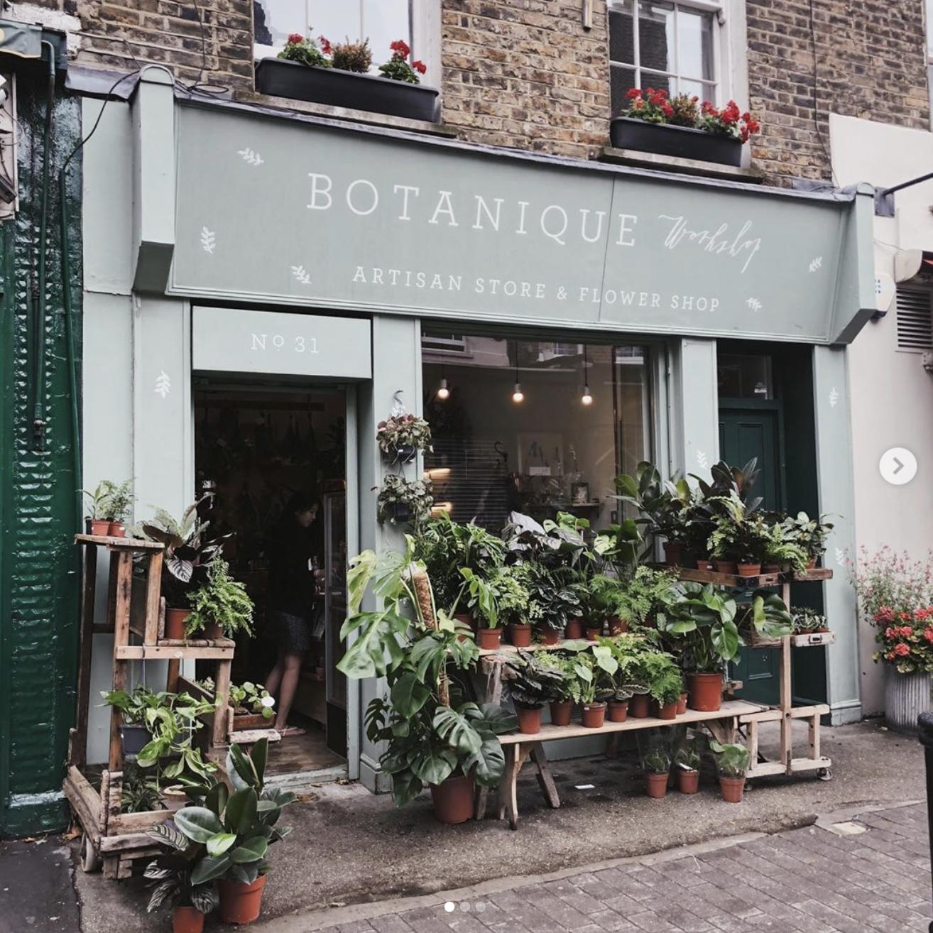 Extérieur du magasin Botanique Workshop, à Londres